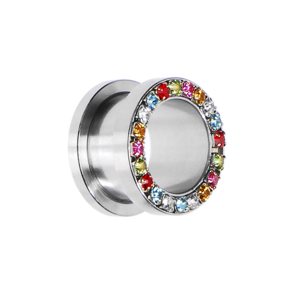 9/16 Stainless Steel Multi Gem Screw Fit Tunnel
