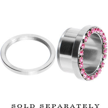 9/16 Stainless Steel Pink Gem Screw Fit Tunnel