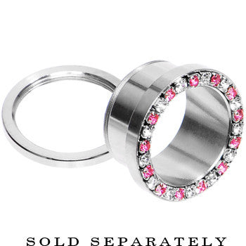 9/16 Stainless Steel Pink Clear Gem Screw Fit Tunnel
