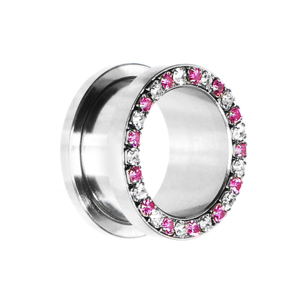 18mm Stainless Steel Pink Clear Gem Screw Fit Tunnel