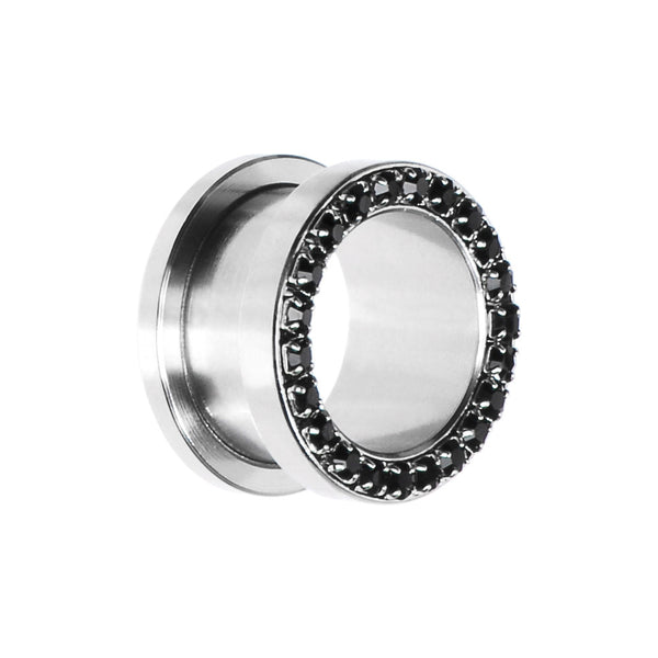 5/8 Stainless Steel Black Gem Screw Fit Tunnel