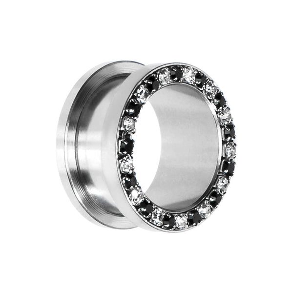 18mm Stainless Steel Black Clear Gem Screw Fit Tunnel