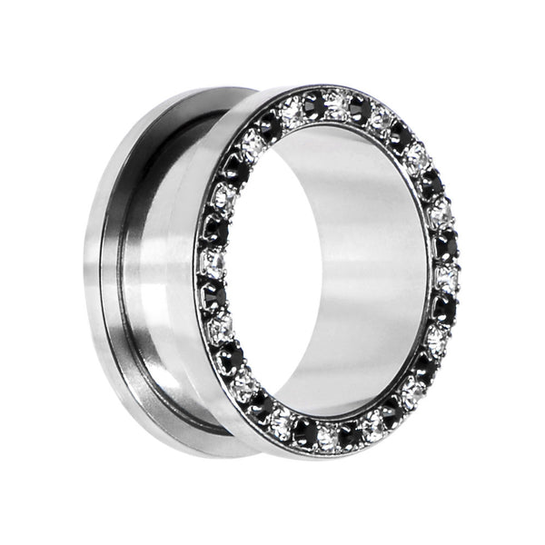 7/8 Stainless Steel Black Clear Gem Screw Fit Tunnel