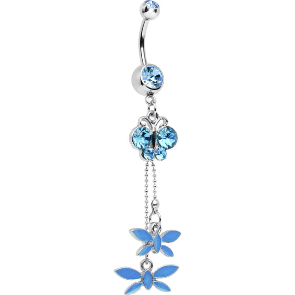 Aqua Cubic Zirconia Butterfly Dangle Belly Ring