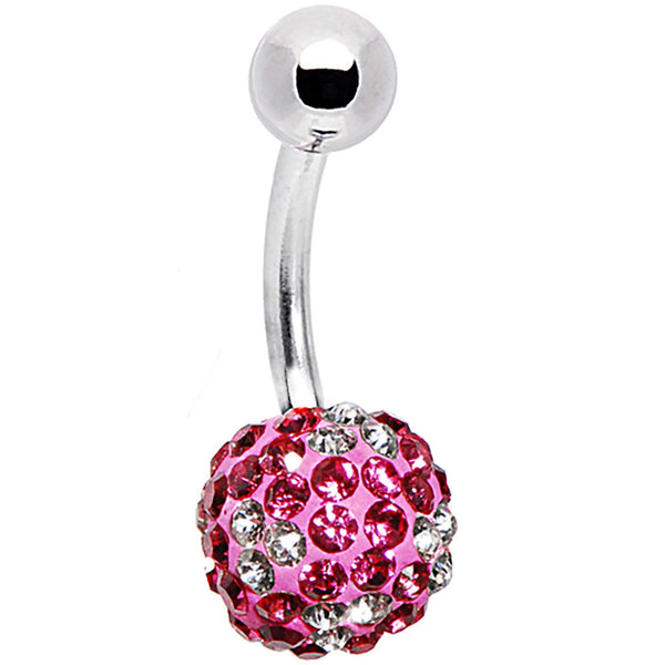 Pink Clear Austrian Crystal Belly Ring