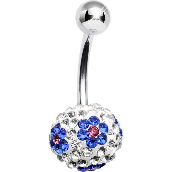 Clear Blue Flower Austrian Crystal Evolution Belly Ring