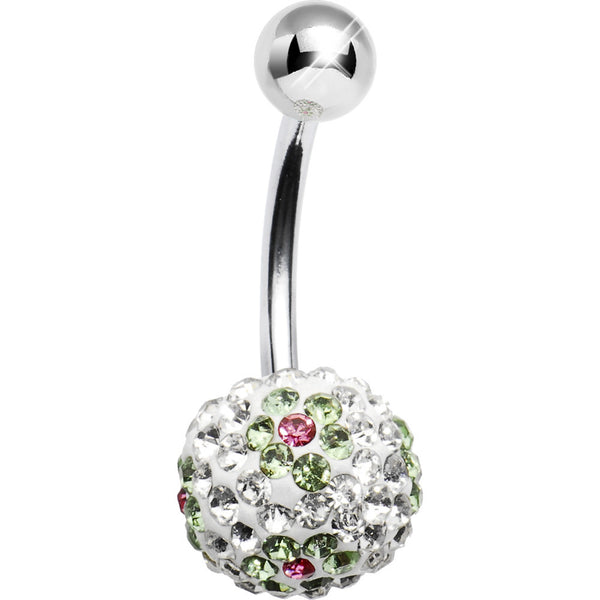Clear Peridot Flower Austrian Crystal Evolution Belly Ring