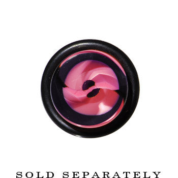 00 Gauge Clear Pink Black Spiral Acrylic Ear Taper
