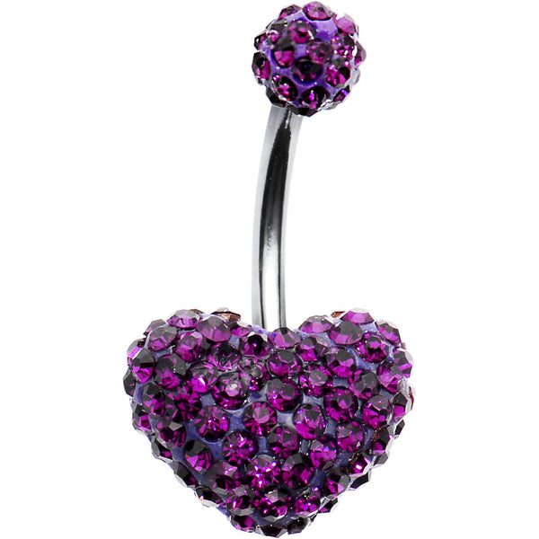Purple Romance Heart Austrian Crystal Evolution Belly Ring