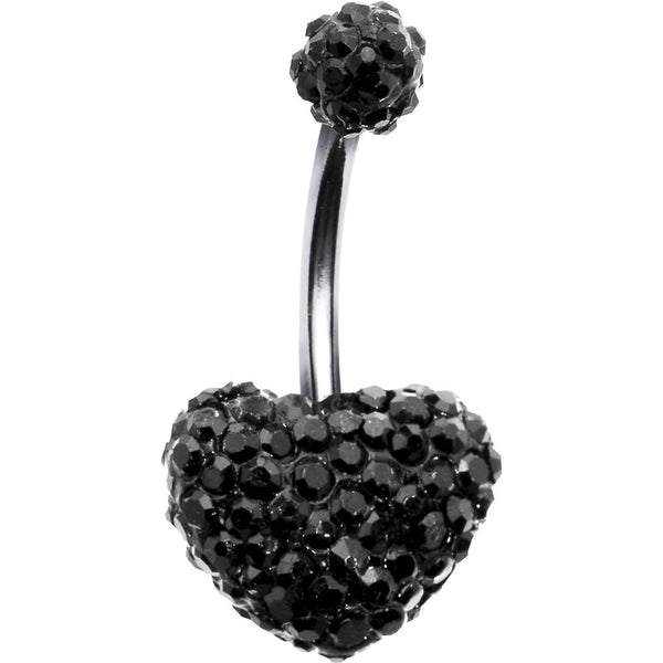 Black Romance Heart Austrian Crystal Evolution Belly Ring