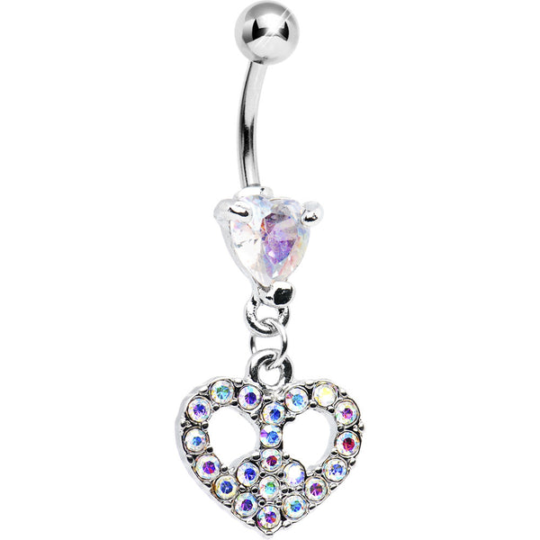 Aurora Gem Peace Sign Heart Belly Ring