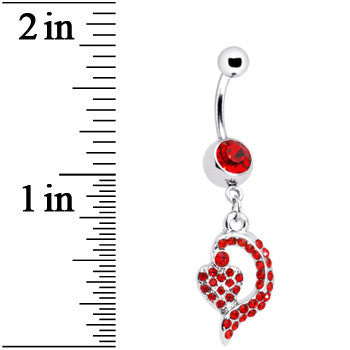 Red Gem Dynamic Heart Belly Ring