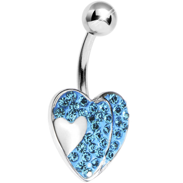 Aqua Gem Sparkle Heart Belly Ring