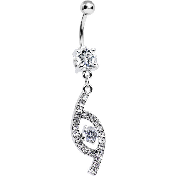 Clear CZ Flawless Fashion Dangle Belly Ring