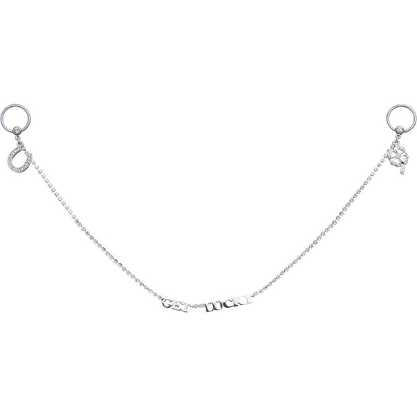 14 Gauge Get Lucky Gem Captive Ring Nipple Chain