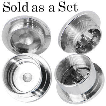 5/8 Stainless Steel Herb Stash and Grinder Plug Set