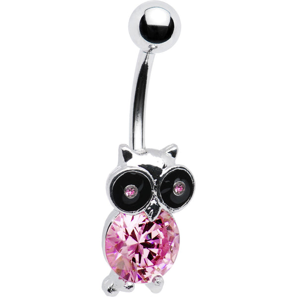 Pink Gem Owl Belly Ring
