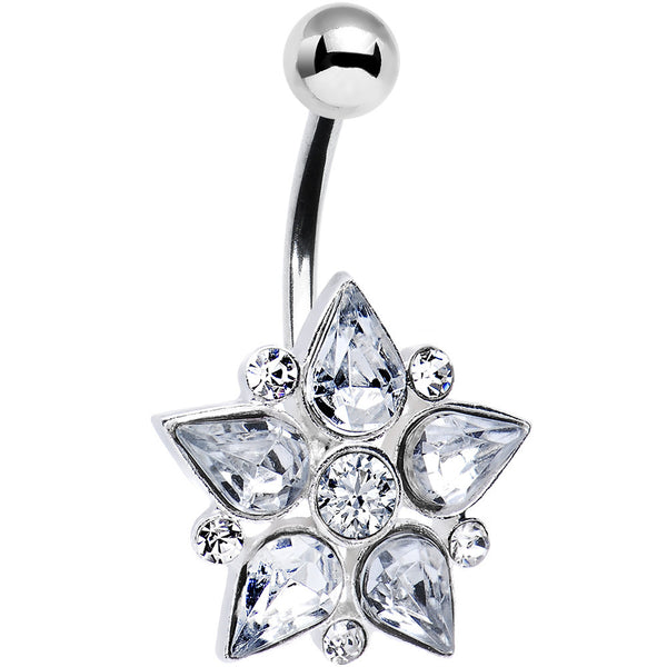 Clear Gem Teardrop Flower Belly Ring
