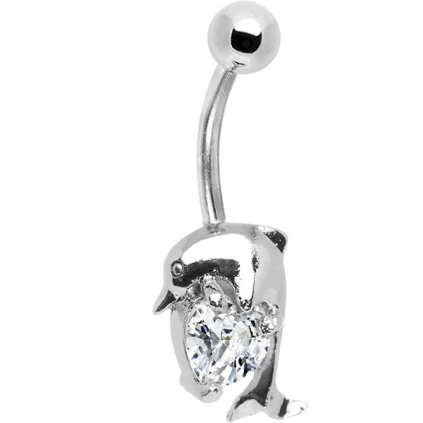 Clear Gem Heart Dolphin Belly Ring
