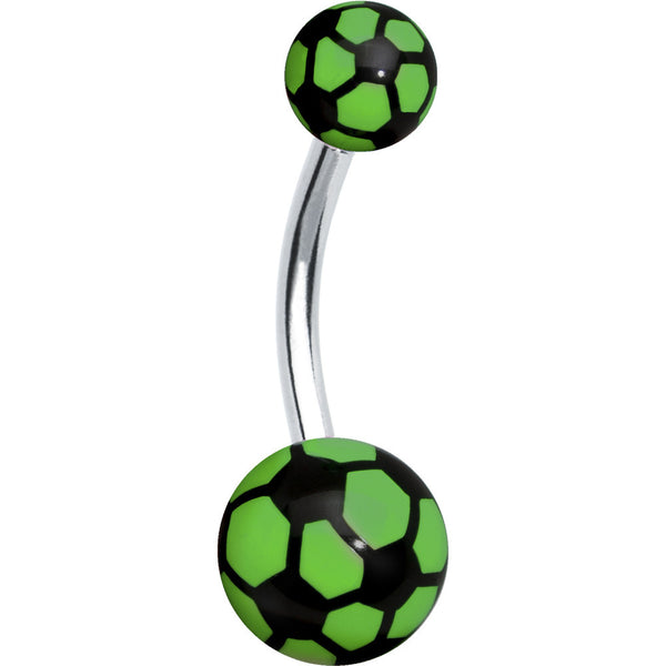 Black and Green Soccer Ball Belly Ring