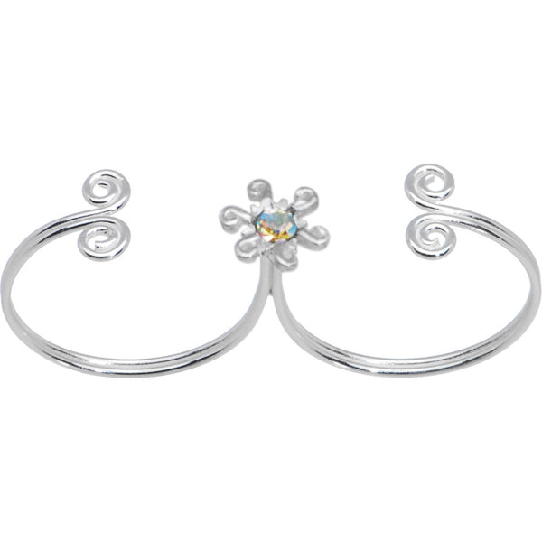 Sterling Silver 925 Aurora CZ Daisy Double Toe Ring