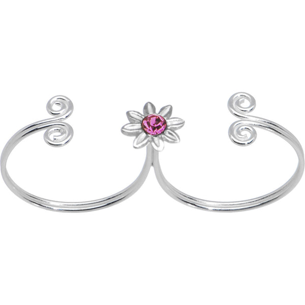Sterling Silver 925 Pink CZ Flower Double Toe Ring