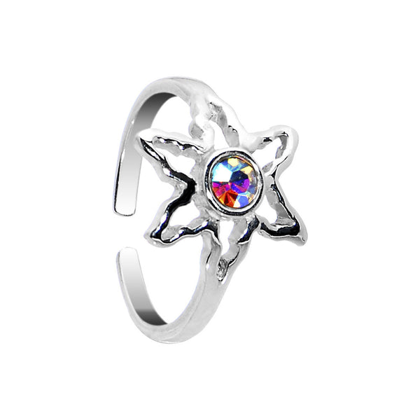 Sterling Silver 925 Aurora CZ Ganga Leaf Toe Ring