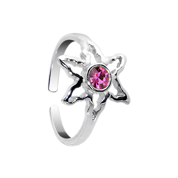 Sterling Silver 925 Pink CZ Ganga Leaf Toe Ring
