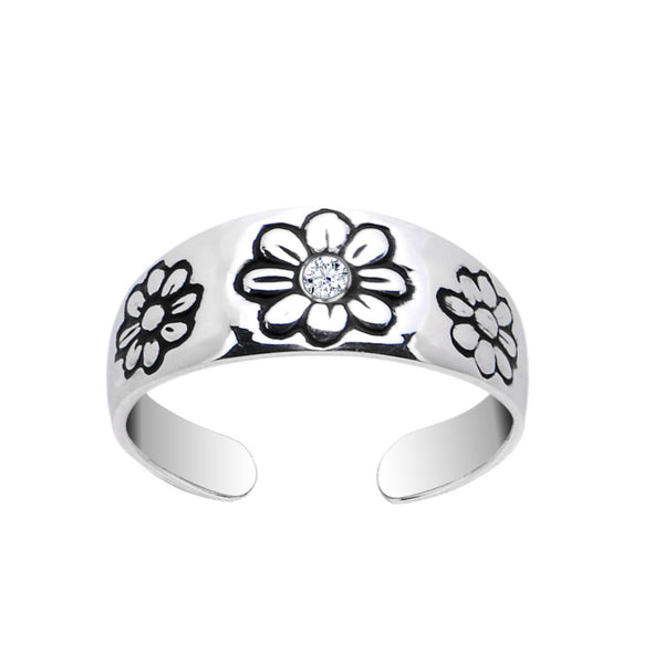Sterling Silver 925 CZ Daisy Toe Ring