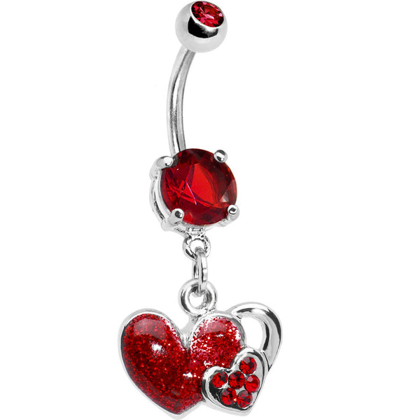 Ruby Red Gem Falling For You Heart Belly Ring