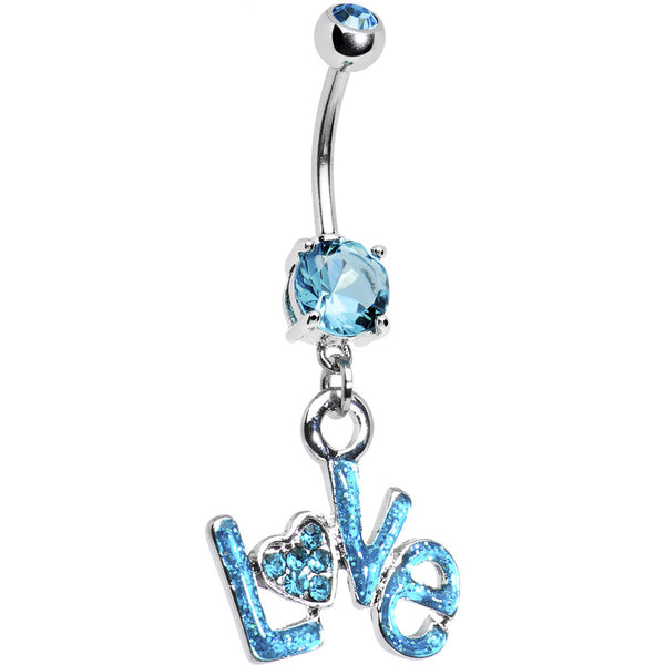 Zircon Blue Gem Love Belly Ring