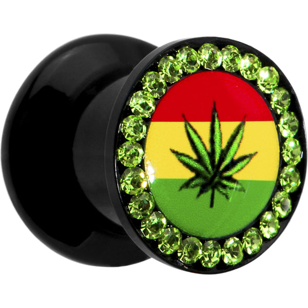 0 Gauge Rasta Pot Leaf Acrylic Stash Plug