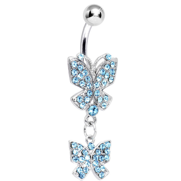 Aqua Gem Dual Delights Butterfly Belly Ring