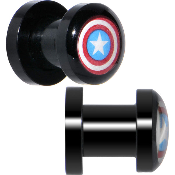 2 Gauge Captain America Screw Fit Plugs Set