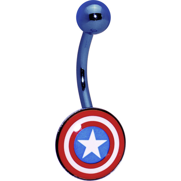 Anodized Captain American Belly Ring