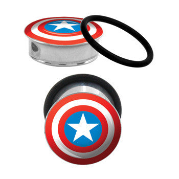 3/4 Captain America Steel Tunnel Plugs Set
