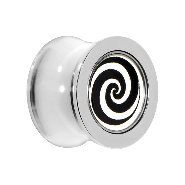 13mm Black White Hypnotic Swirl Ball Bearing Tunnel