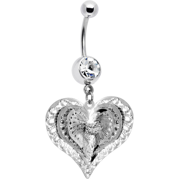 Clear Gem Love at First Sight Heart Belly Ring