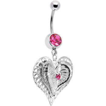 Pink Gem Love at First Sight Heart Belly Ring