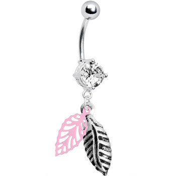 Crystalline Gem Falling Leaf Dangle Belly Ring