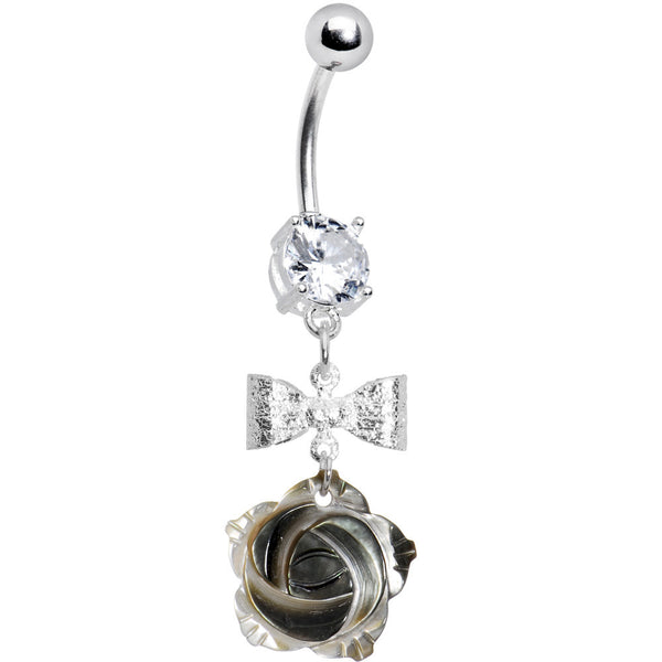 Crystalline Gem Bow Flower Belly Ring