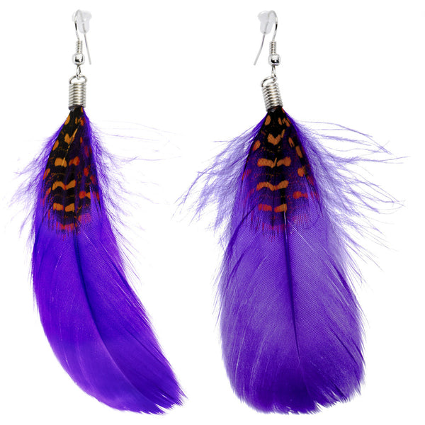 Perfect in Purple Feather Earrings