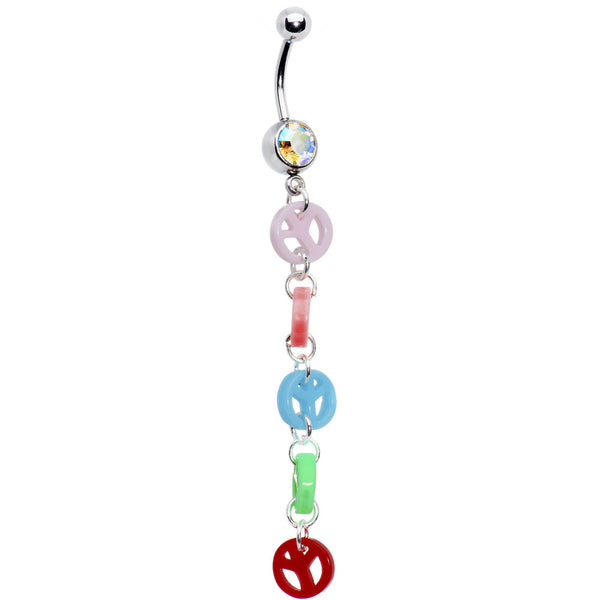 Groovy Peace Sign Drop Belly Ring