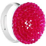 Fuchsia Sparkler Round Adjustable Ring