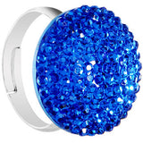 Blue Sparkler Round Adjustable Ring