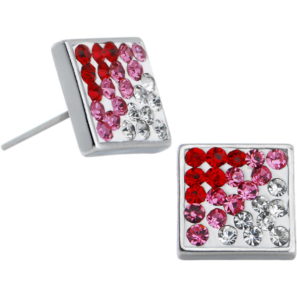 6mm Pink Perfection Gem Square Stud Earrings