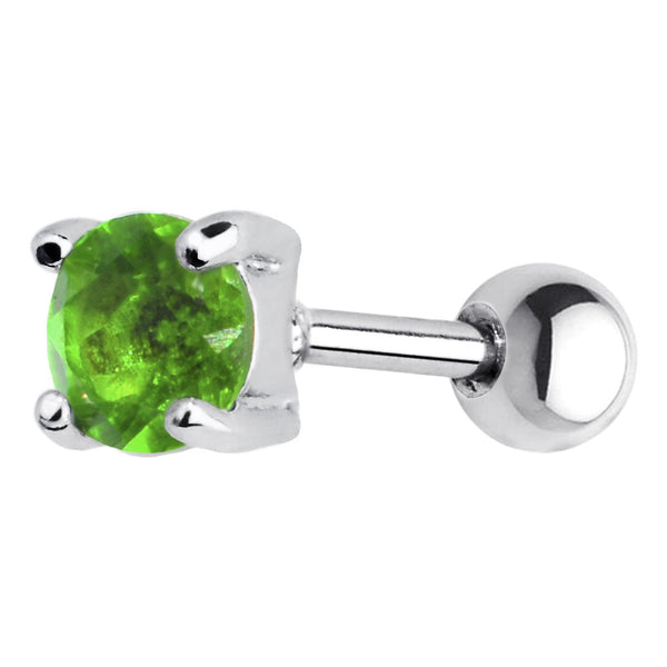 16 Gauge 5mm Green CZ Round Cartilage Tragus Earring