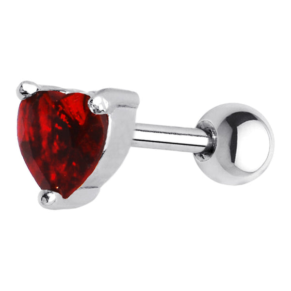 16 Gauge 5mm Red CZ Heart Cartilage Tragus Earring