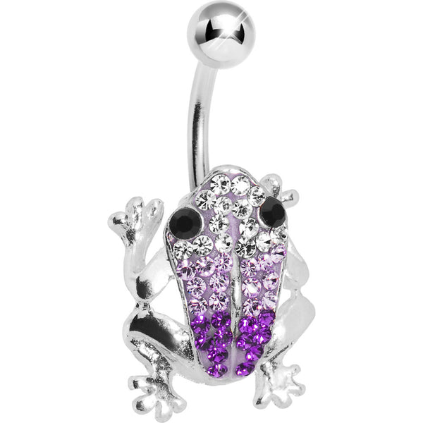 Amethyst Crystal Frog Belly Ring Created with Swarovski Crystals