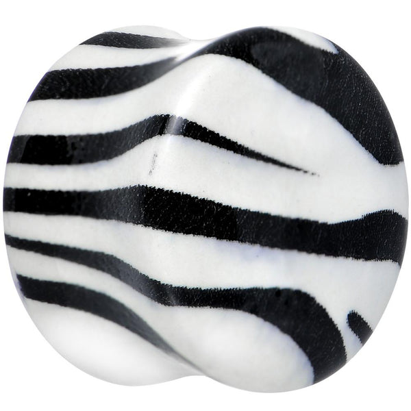Zebra Print Glow in the Dark Saddle Plug 2 Gauge to 1 Inch